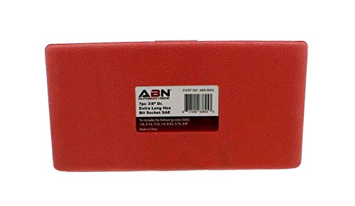 "ABN Extra-Long SAE Standard Socket 7-Piece Set, 3/8"" Inch Hex Drive – 1/8"", 9/32"", 3/16"", 7/32"", 1/4'', 5/16"", 3/8"" by ABN (Image #4)"