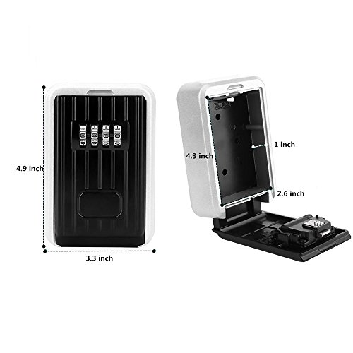 Key Lock Box,Key Storage Lock Box for House Key with 4-Digit Combination,Wall Mount Key Safe Box Weatherproof for Indoors and Outdoors (Wall Mount) by MorisMos (Image #2)