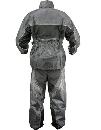 Xelement RN4793 Mens Gray/Black 2-Piece Motorcycle Rainsuit - X-Large