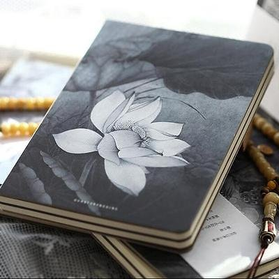"""Lotus Flower"" 1pc Blank Paper Notebook Sketchbook Journal Diary Drawing Notepad"