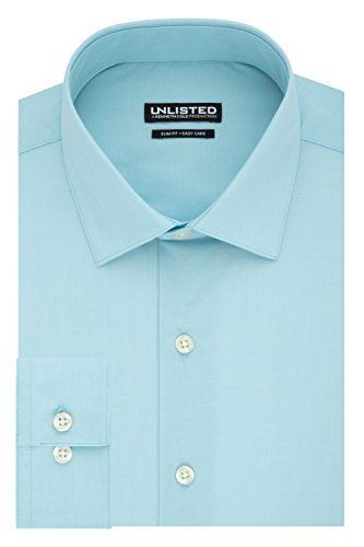Kenneth Cole REACTION Men's Unlisted Slim Fit Solid Spread Collar Dress Shirt, Aqua, 16''-16.5'' Neck 34''-35'' Sleeve by Kenneth Cole REACTION
