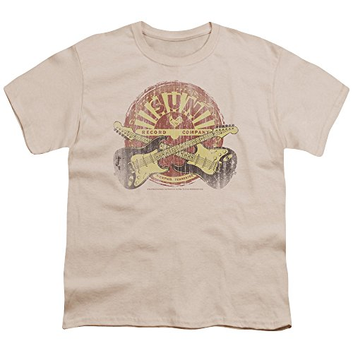 Sun Crossed Guitars Unisex Youth T Shirt for Boys and Girls, Small Cream