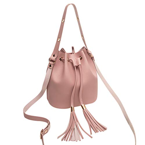- DZTZ Fashion Ladies Classic Tassel Bucket Drawstring Shoulder Bag Messenger Bag (Pink)
