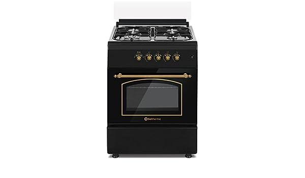 Cocina SolThermic F6S40G2I de Color Negro Rústico compuesta por 4 Quemadores y Horno Incorporado: Amazon.es: Hogar