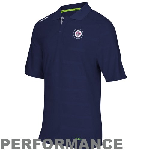 fan products of NHL Reebok Winnipeg Jets Center Ice Team Polo - Navy Blue (Large)