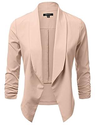 DRESSIS Women's Lightweight Chiffon Ruched Sleeve Open Front Blazer