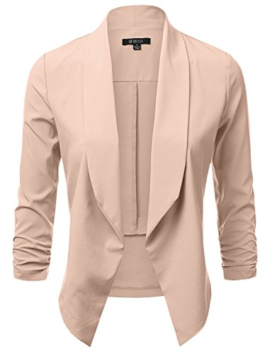 Dressis Womens Lightweight 3/4 Ruched Sleeve Open Front Blazer