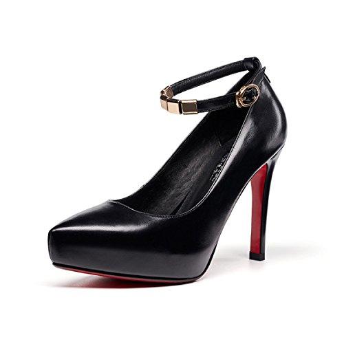 Womens Smart Strap Sexy High Heels 11 CM Party Hochzeitspumpen Dame Klassische Spitz Schuhe Black(Leather)