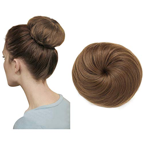 Drawstring Hair Bun Extension Donut Chignon Ballerina Synthetic Hairpieces Light Brown Auburn Updo Hair Piece Brown Brunette For Women Gril Lady Accessories SARLA Q3&12 ()
