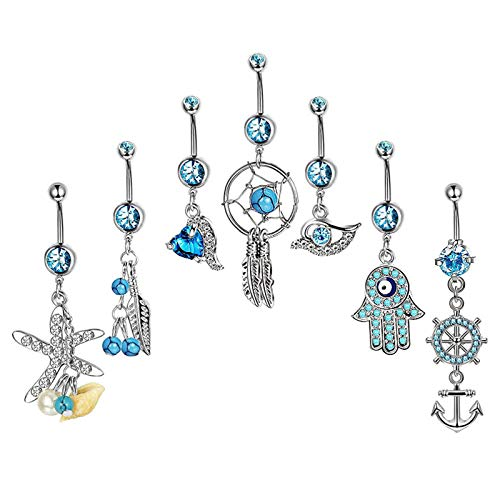 Stainless Steel Earrings Ear Nail Belly Button Rings Navel Piercing Dangle Crystal Jewelry Wholesale