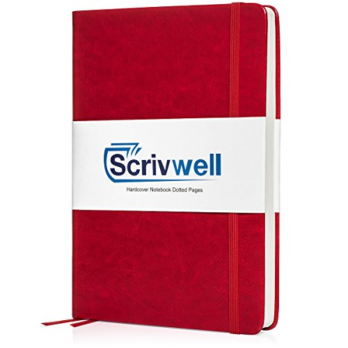 Scrivwell Dotted A5 Hardcover Notebook - 240 Dotted Pages with Elastic Band, Two Ribbon Page Markers, 100 GSM Paper, Pocket Folder - Great for Bullet journaling (Red) by Scrivwell