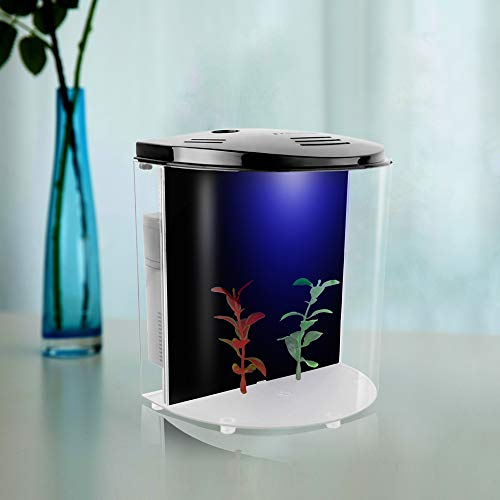 FREESEA 1.4 Gallon Half Moon Small Betta Aquarium Fish Tank with LED Light and Filter Pump