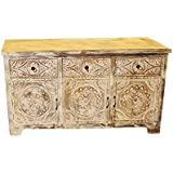Mogul Interior Vintage Rustic Media Console Whitewashed Floral Hand Carved Mandala Chest 3 Drawers 3 Doors Vintage Sideboard Buffet Credenza