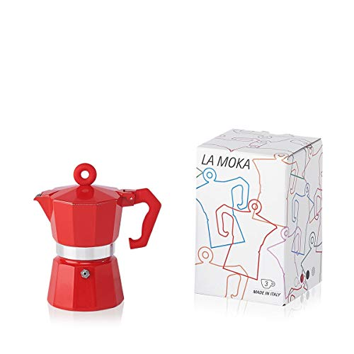 (Illy Moka Pot, Red for 3 Cups)