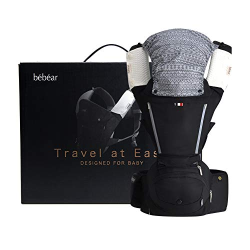 Bebamour Baby Carrier with Hip Seat 6 in 1 Ergonomic Baby Carrier Backpack 0-36 Months(Black)