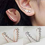 Gbell Girls Women Rhinestone Crystal Wraps Earrings Cuffs Ear Stud Jewelry Gifts for Ladies Party Wearing (Sliver)
