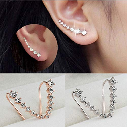 inestone Crystal Wraps Earrings Cuffs Ear Stud Jewelry Gifts for Ladies Party Wearing (Gold) ()