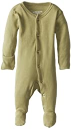 L\'ovedbaby Unisex-Baby Organic Cotton Footed Overall, Sage, 0/3 Months