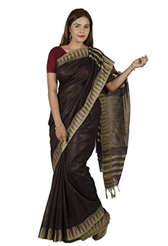 Tribes India Women's Cotton Silk Katan Vidharbh Saree 6 Mtrs. Dark Chocolate
