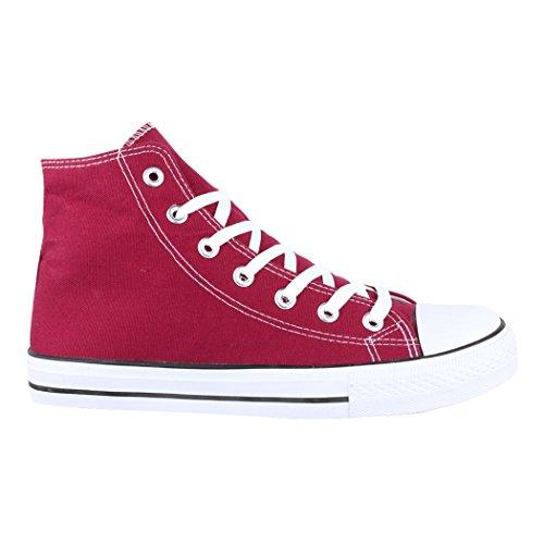 Elara Unisexe High Top Sneakers Chaussures de Sport Tissu Chaussures de Loisirs Rot High IBOvY1