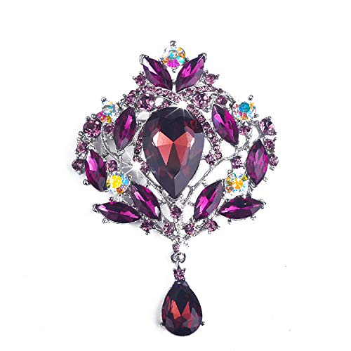 (Yilanair Wedding Bridal Big Crystal Rhinestone Bouquet Brooch Pin for Women (Purple))