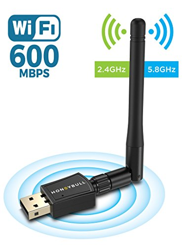 - HoneyBull 600 Mbps Wireless USB WiFi Adapter (5.8GHz & 2.4GHz) Dual Band USB Adapter with +5dBi External Antenna (Supports Windows XP, Vista, 7, 8, 10 & Mac OS X) -