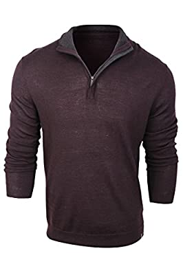 Calvin Klein Men's Bordeaux Merino Wool Mock Neck Sweater
