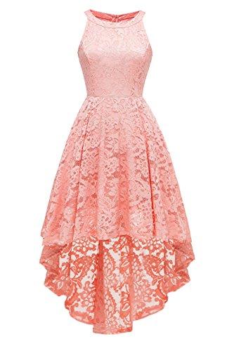 Laceshe Women's Halter Floral Lace Cocktail Party Dress Hi-Lo Bridesmaid Dress-S-Pink