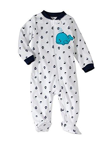 Garanimals Baby Boy Preemie Sleepers Size Preemie Cotton and Fleece Styles Choose Yours (Preemie, White Teal Whale)