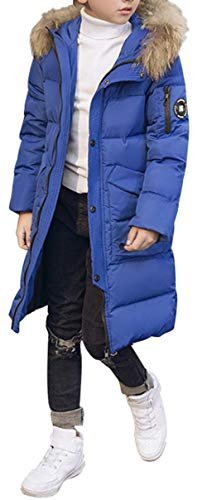 D Thick Hooded Mid Padded Puffer Fur SellerFun Duck Long Down Parka Boy Overcoat Style Trim Blue Jacket Winter with wTqxEX5