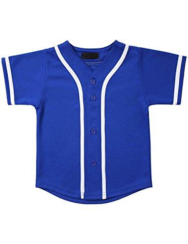 Hat and Beyond Kids Baseball Jersey Button Down T Shirts Hipster Plain Hip Hop Uniforms (12 Months, 5pu01_RBU.WHI)