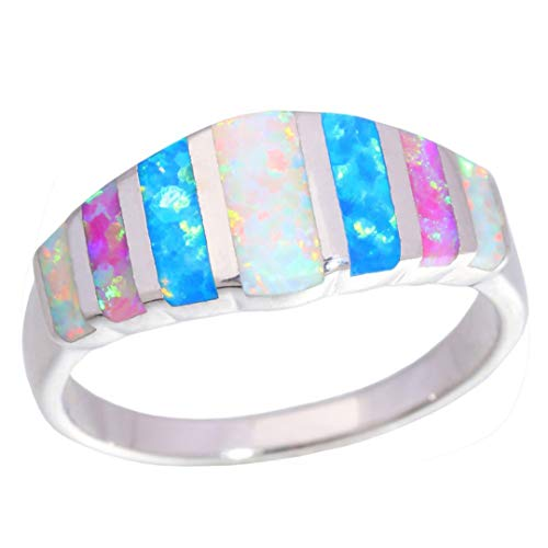 MARRLY.H Rainbow Big Fire Opal Stone Rings Silver Plated Blue White Pink Colorful Engagement Finger Ring Summer Jewelry Women Girl Multi 11