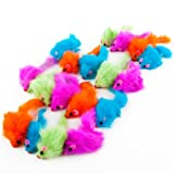 HDP Rainbow Plush Rattling Mice cat toy SizePack of 24