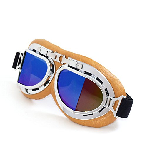 Wonzone Sports Vintage Motorcycle Goggles Aviator Half Helmet Glasses Pilot Retro Goggles,Aviator Pilot Style Cruiser Scooter Goggle Bicycle Summer Winter Snowboard Windproof Glasses