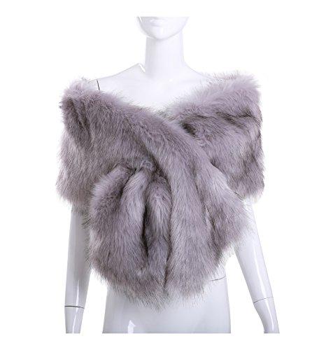 Silver Fur (Women Long Faux Fox Fur Shawl Bridal Stole Cover Up Winter Soft Bolero Scarf Silver Grey)