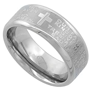 Surgical Steel 8mm Lord's Prayer Wedding Band Ring Bull nosed Edges Comfort-Fit, size 8