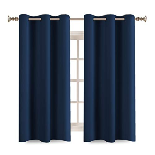 (Turquoize Solid Blackout Drapes, Room Darkening, Dark Denim, Themal Insulated, Grommet/Eyelet Top, Nursery/Living Room Curtains Each Panel 42
