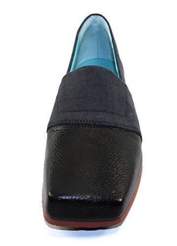 Thierry Rabotin Womens Macau I Svart Monet Skinn / Jeans Präglade Mocka - Storlek 39,5 M