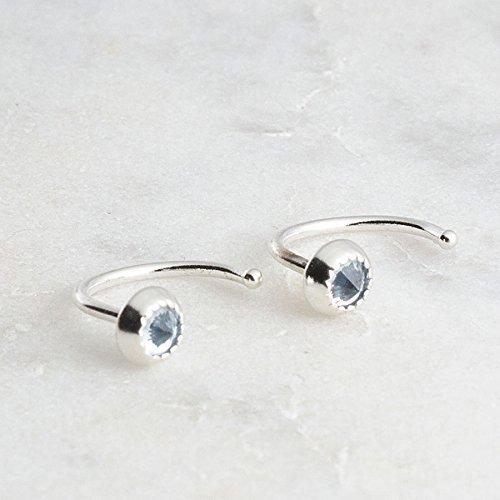 Sky Blue Topaz Silver Open Hoop Hugger Hugging Earrings Stone 3mm