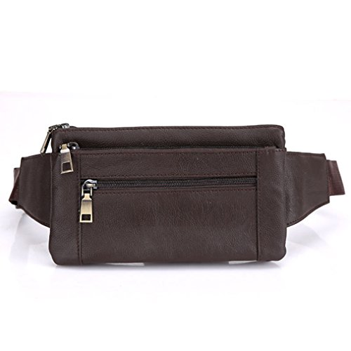 Genuine Leather Belt Men & Women Fanny Pack Travel Passport Bum Hip Bag Unisex Sling Bags Running Walking Waist Pack Purse Brown