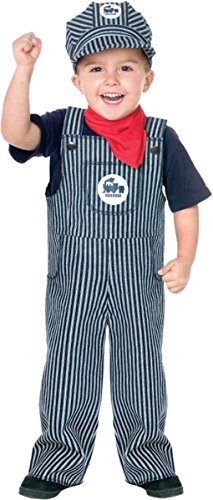 Train Conductor Engineer Striped Overalls Boys Outfit Toddler Costume]()
