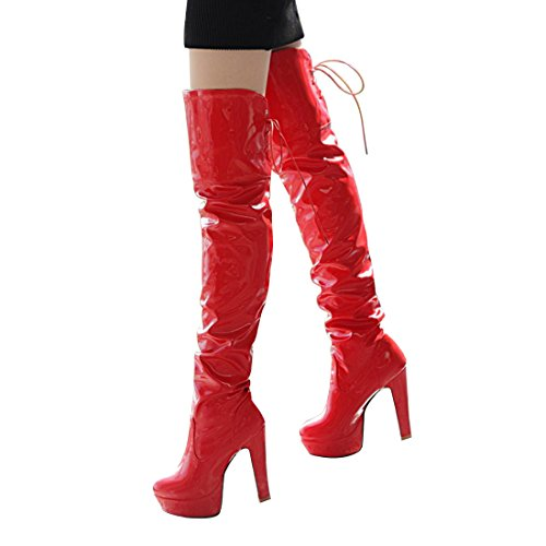 Susan (Red Leather Thigh High Boots)