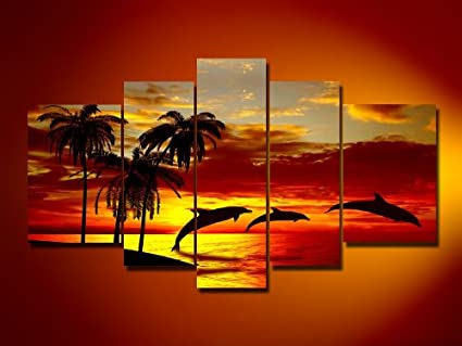 Sangu 5 Piece Hawaii Sunset Beach Dolphin Palm Tree For Landscape Oil Painting Gift Canvas