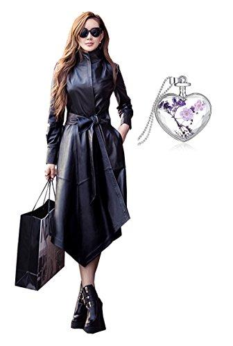2017 Femme Veste en Cuir de Mode Long - Manteau de Fourrure en Cuir Mince d'automne et d'hiver Slim Girls?Manteau en Cuir Noir (M, Noir)