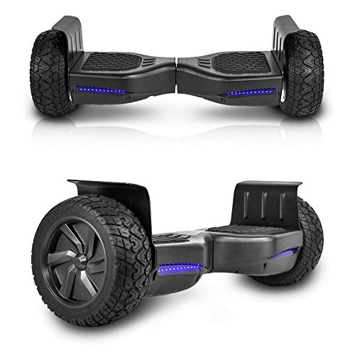 Cho All Terrain Black Rugged 8.5 Inch Wheels Hoverboard Off-Road Smart Self Balancing Electric Scooter LED Lights UL2272 Certified (Black)