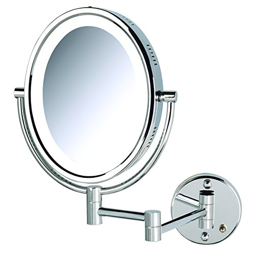 Jerdon HL9516C 5X-1X Magnification Oval Lighted Wall Mount Mirror, Chrome