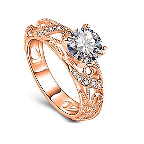 (Hot Selling Fxbar Women Elegant Openwork Engagement Ring Charm Shine Zircon Wedding Band Jewelry (Rose Gold,10))
