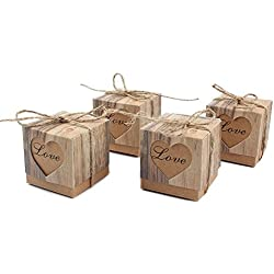 Alikeke 50pcs Candy Favor Boxes Vintage Kraft Bonbonniere + 50pcs Burlap Twine, Love Heart Imitation Bark Gift Bag for Wedding Party Birthday Baby Shower Decoration