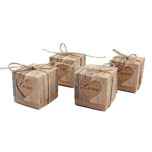 alikeke 100pcs Candy Favor Boxes Vintage Kraft Bonbonniere + 100pcs Burlap Twine, Love Heart Imitation Bark Gift Bag Wedding Party Birthday Baby Shower Decoration