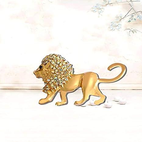 Gysad L/öwen Broschen f/ür M/änner Gl/änzend Strass Broschen Schmuck g/ünstig exquisite Ambiente Broschen Tiere Kreativ kleines Geschenk 6.1 3.5 cm gold